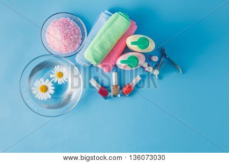Spa Hands Accessories On Plain Blue Background