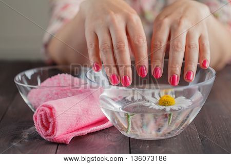 Beautiful Woman Hands With Perfect Manicure Bathing
