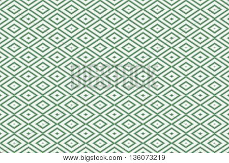 Illustration of repetitive dark green and white rhombuses