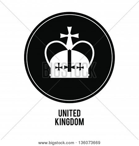 United kingdom concept represented by crown over black circle icon. isolated and flat illustration