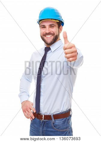 Smiling Worker In Blue Helmet Makes A Gesture Thumb Up