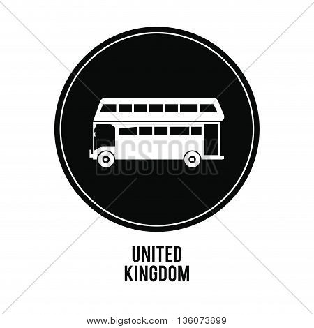United kingdom concept represented by bus over black circle icon. isolated and flat illustration