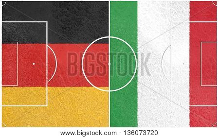 Flags of European countries participating to the final tournament of  football championship. Football field textured by Germany and Italy national flags.3D rendering