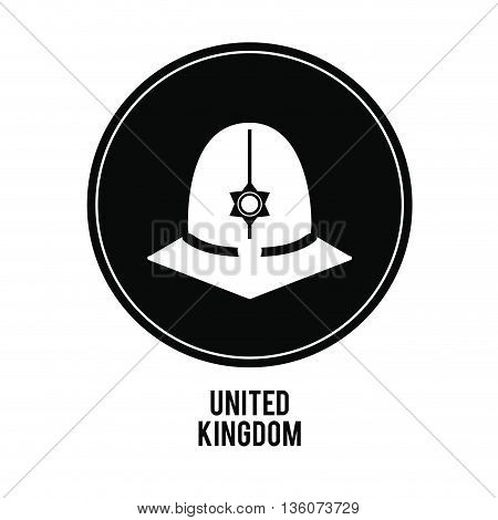 United kingdom concept represented by police hat over black circle icon. isolated and flat illustration