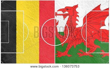 Flags of European countries participating to the final tournament of  football championship. Football field textured by Belgium and Wales national flags.3D rendering
