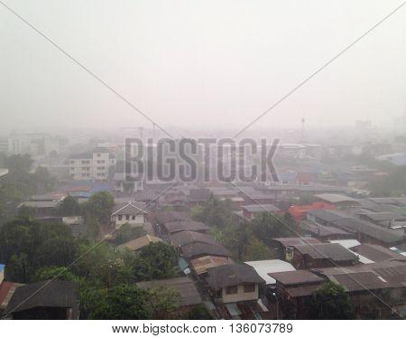 rainfall heavy white color bangkok at thailand