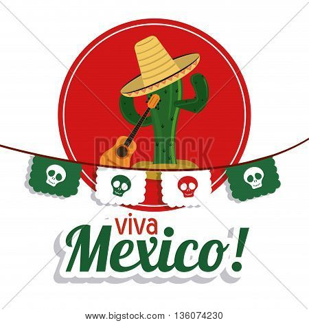 Mexico culture concept represented by cactus with hat and guitar over seal stamp. Colorfull and flat illustration
