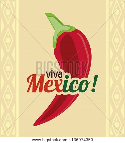 Mexico culture concept represented by pepper icon. Colorfull and flat illustration