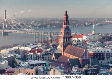 Latvias Capital - Riga from a bird's eye view at winter