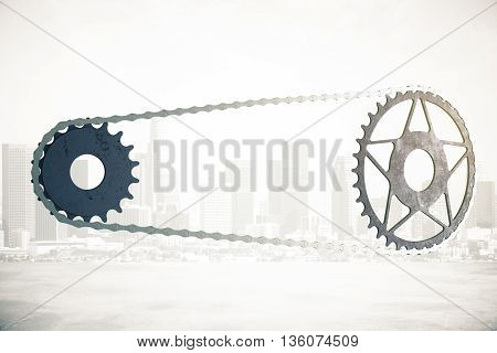 Bicycle gearing on abstract city background. 3D Rendering