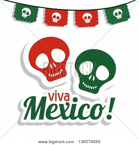 Mexico culture concept represented by skull icon. Colorfull and flat illustration