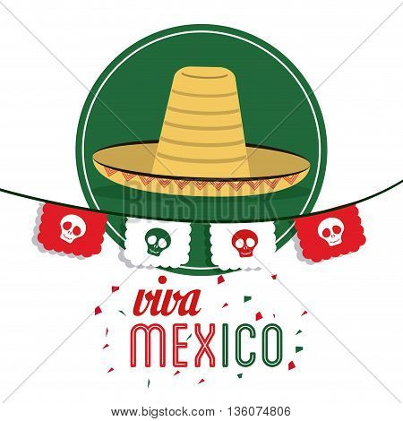 Mexico culture concept represented by hat over seal stamp icon. Colorfull and flat illustration