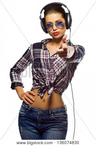 Young woman listen music isolated