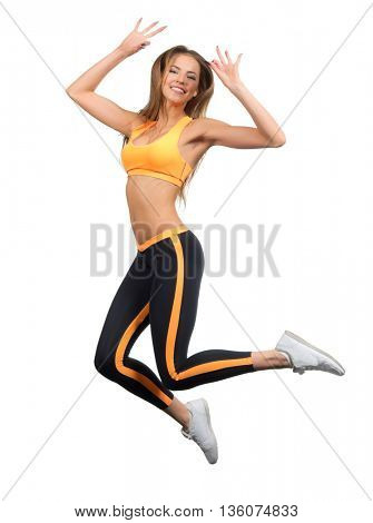 Sporty jumping girl isolated on white
