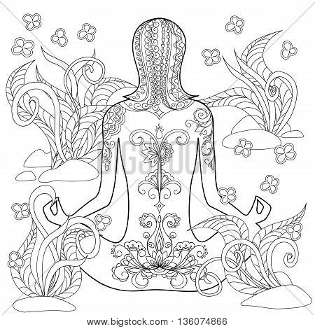 Hand drawn decorated tattoo girl in the tangled flowers. Image for relaxation adult and children coloring book. eps 10