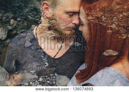 beautiful couple hugging each other near a mountain river, multiexposition