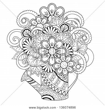 Hand drawn tangled flowers in the decorated watering can. Image for adult and children coloring book. eps 10