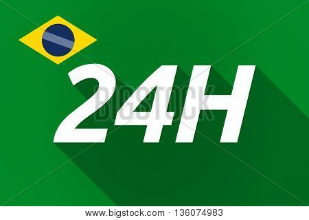 Long Shadow Brazil Flag With    The Text 24H