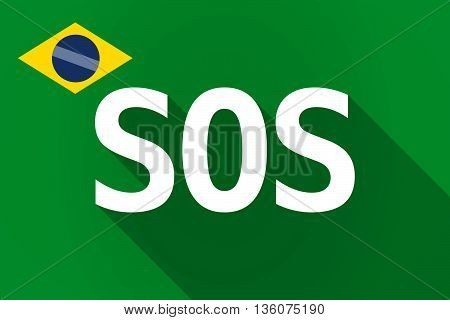 Long Shadow Brazil Flag With    The Text Sos