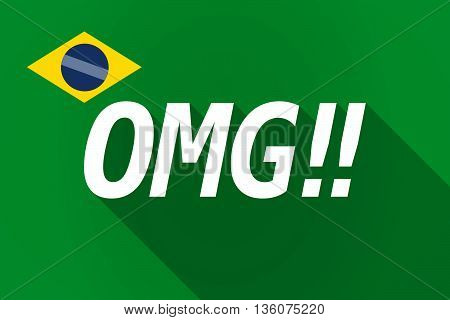 Long Shadow Brazil Flag With    The Text Omg!!