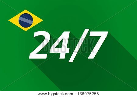 Long Shadow Brazil Flag With    The Text 24/7