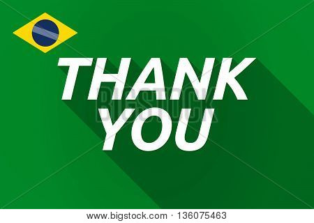 Long Shadow Brazil Flag With    The Text Thank You