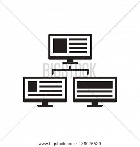 Flat icon in black and white  computer network