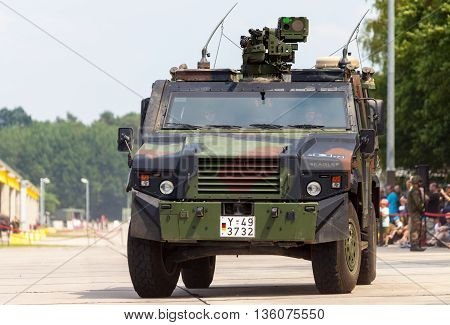 BURG / GERMANY - JUNE 25 2016: german army transporter mowag eagle IV drives on open day in barrack burg / germany at june 25 2016