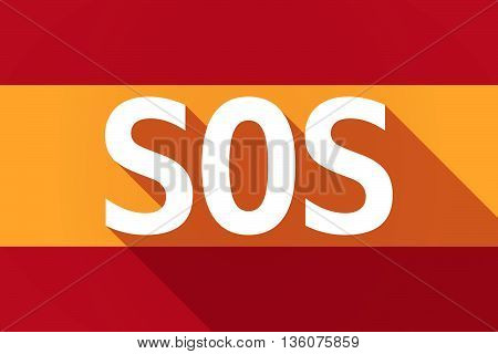 Long Shadow Spain Flag With    The Text Sos