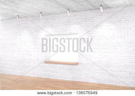 Side view of white brick interior design with built-in-wall seating wooden floor and ceiling lamps. Mock up 3D Rendering