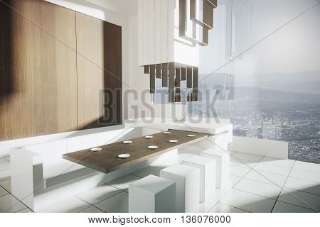 Side view of modern kitchen interior with tile floor wooden wall dining area bar stand and panoramic window with city view. 3D Rendering