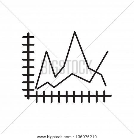 Flat icon in black and white  economic graph