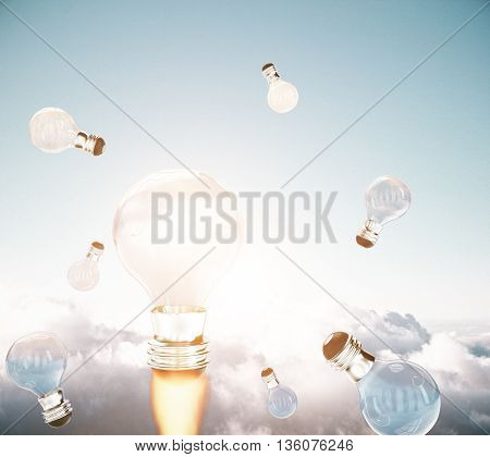 Creative business start up idea concept with abstract rocket fire lightbulbs in sky with clouds. 3D Rendering