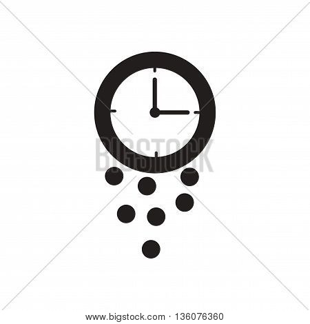 Flat icon in black and white  coin watch