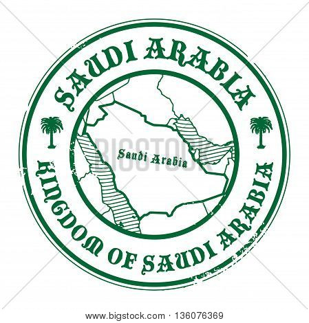 Grunge rubber stamp with the name and map of Saudi Arabia, vector illustration