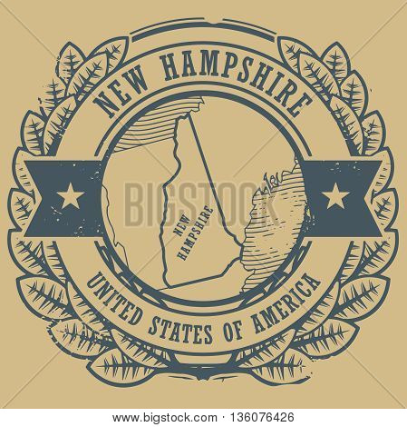 Grunge rubber stamp with name and map of New Hampshire, USA, vector illustration