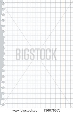Ripped white squared notebook paper is on gray table surface or background.