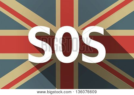 Long Shadow Uk Flag With    The Text Sos