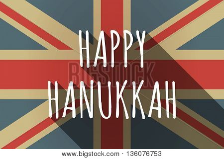 Long Shadow Uk Flag With    The Text Happy Hanukkah