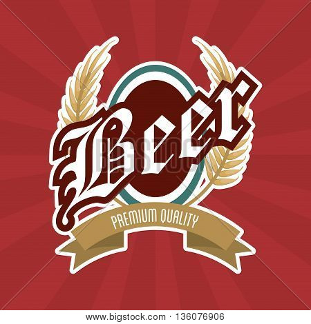 Beer concept represented by seal stamp with ribbon icon. Colorfull and flat illustration