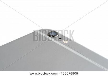 Close-up camera phone on white background isolated