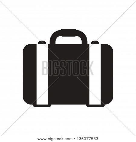 Flat icon in black and white  business suitcase