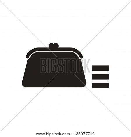 Flat icon in black and white  women wallet