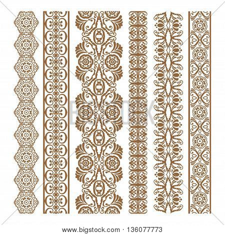 Border Floral Silhouettes Illustration Set for banners and ethnic decoration