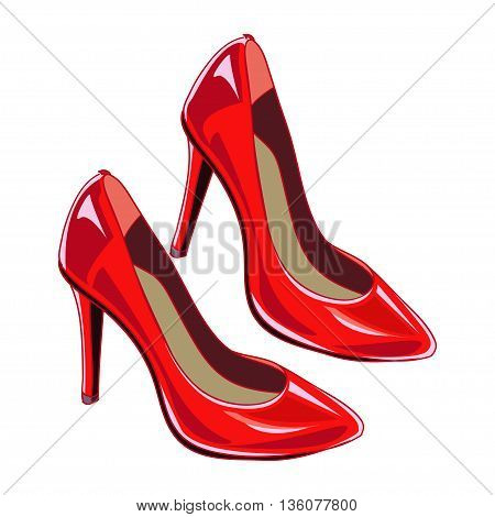 Red woman shoes. Female shoes. Vector illustration