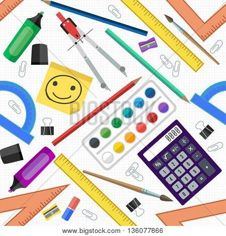 Seamless pattern of school tools. Vector illustration