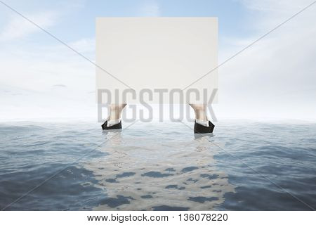 Businessman hands in water holding blank white board on sky background. Mock up