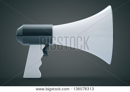 Megaphone on grey background. 3D Rendering. Close up.