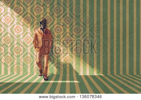 vintage businessman with gas mask standing against the wall with retro pattern, illustration painting