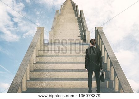 Success concept with businessman climbing concrete stairs in the sky. 3D Rendering